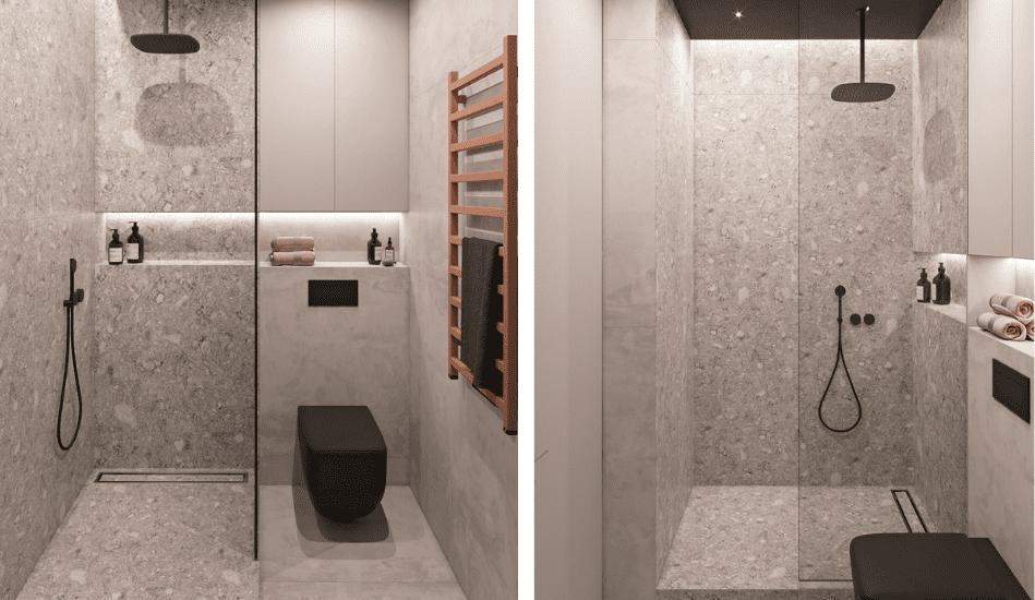Baño moderno con inodoro negro suspendido y grifería negra